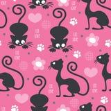 Illustrazione senza cuciture di vettore del modello di amore del gatto Fotografie Stock