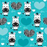 Illustrazione senza cuciture di vettore del modello di amore della zebra Fotografie Stock Libere da Diritti