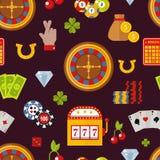 Illustrazione senza cuciture di vettore del modello di simboli del giocatore del poker del gioco del casinò Fotografie Stock Libere da Diritti