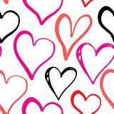 Illustrazione senza cuciture di vettore del modello di simbolo del cuore Fondo disegnato a mano di scarabocchio di schizzo Backgr Fotografie Stock Libere da Diritti