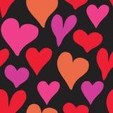 Illustrazione senza cuciture di vettore del modello di simbolo del cuore Fondo disegnato a mano di scarabocchio di schizzo Backgr Fotografia Stock
