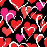 Illustrazione senza cuciture di vettore del modello di simbolo del cuore Fondo disegnato a mano di scarabocchio di schizzo Backgr Immagini Stock