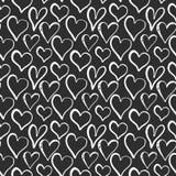 Illustrazione senza cuciture di vettore del modello di simbolo del cuore Fondo disegnato a mano di scarabocchio di schizzo Backgr Fotografie Stock