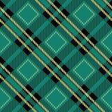 Illustrazione senza cuciture di vettore del tartan del tessuto del modello diagonale verde di struttura Illustrazione Vettoriale
