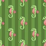 Illustrazione senza cuciture di vettore dell'ippocampo Immagini Stock