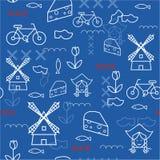Illustrazione senza cuciture di viaggio del modello dell'Olanda di vettore con i punti di riferimento olandesi Immagini Stock