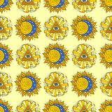 Illustrazione senza cuciture mistica occulta esoterica di vettore della stella del fondo del modello del pianeta giallo disegnato illustrazione vettoriale