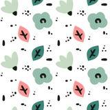 Illustrazione senza cuciture moderna sveglia del fondo del modello di vettore con i fiori disegnati a mano astratti, le foglie e  illustrazione vettoriale