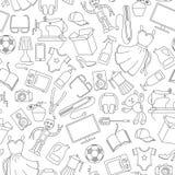 Illustrazione senza cuciture su vari prodotti ed acquisto, icone semplici dell'acquisto, contorni scuri su un fondo bianco illustrazione di stock