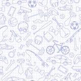 Illustrazione senza cuciture sul tema degli hobby e delle abitudini maschii, icone blu disegnate a mano semplici di contorno sul  illustrazione di stock