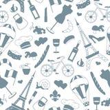 Illustrazione senza cuciture sul tema del viaggio nel paese della Francia, le siluette grige delle icone su un fondo leggero Immagine Stock