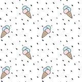 Illustrazione senza cuciture variopinta sveglia del fondo del modello di vettore del gelato del cono con i punti Immagini Stock Libere da Diritti