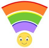 Illustrazione senza fili del fumetto dell'icona del segnale dell'arcobaleno sveglio Immagine Stock Libera da Diritti
