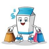Illustrazione shoping del fumetto di vettore della mascotte del latte illustrazione di stock