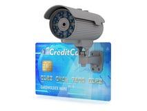 Illustrazione sicura di concetto dei soldi; videocamera di sicurezza e carta di credito Fotografie Stock Libere da Diritti