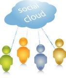 Illustrazione sociale del collegamento della gente della nube Immagini Stock Libere da Diritti