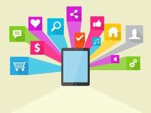 Illustrazione sociale dell'icona di vettore di media Fotografie Stock Libere da Diritti