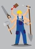 Illustrazione sovrumana di vettore del personaggio dei cartoni animati del lavoratore Fotografie Stock Libere da Diritti
