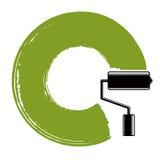 Illustrazione a spirale di vettore di curvatura, forma circolare spazzolata Verde illustrazione vettoriale