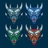 Illustrazione stabilita capa del drago mitico Arte dettagliata di vettore di una testa mitologica cornuta del drago immagini stock