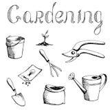 Illustrazione stabilita di giardinaggio di bianco del nero di arte grafica illustrazione di stock