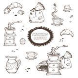 Illustrazione stabilita di vettore del dessert e del caffè Elementi dell'alimento isolati su fondo bianco Smerigliatrice, tazza,  Fotografie Stock