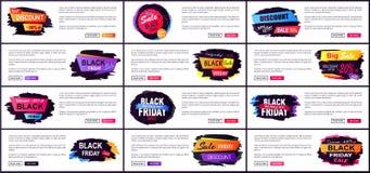 Illustrazione stabilita di vettore del sito Web di vendita di Black Friday Immagine Stock