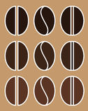 illustrazione stabilita di vettore dell'arrosto dei chicchi di caffè robusta e dell'arabica dell'icona piana differente di colore Fotografie Stock