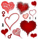 Illustrazione stabilita di vettore dell'icona del biglietto di S. Valentino del cuore illustrazione di stock