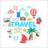 Illustrazione stabilita di vettore dell'icona marina di feste di viaggio di estate Immagine Stock