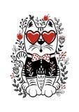 Illustrazione stabilita di vettore delle gente con il gatto, i vetri del cuore e la f bianchi immagini stock