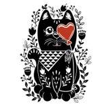 Illustrazione stabilita di vettore delle gente con il gatto nero, il cuore della bolla ed i fiori Immagine Stock Libera da Diritti