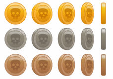 Illustrazione stabilita di vettore di animazione del cranio della moneta del gioco fotografia stock libera da diritti