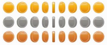 Illustrazione stabilita di vettore di animazione della moneta del gioco fotografia stock libera da diritti