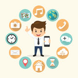 Illustrazione stabilita di vettore di applicazione mobile di bordi dell'uomo d'affari Immagine Stock