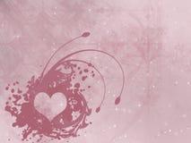 Illustrazione, stampa, cuore di terracotta su fondo rosa con l'astrazione, San Valentino illustrazione vettoriale