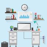 Illustrazione, stanza dell'ufficio, progettazione piana Immagine Stock Libera da Diritti