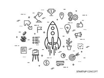 Illustrazione Startup lineare di vettore del razzo dell'astronave Fotografia Stock