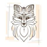 Illustrazione stilizzata di una volpe per un tatuaggio stile lineare Immagini Stock Libere da Diritti