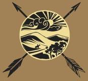Illustrazione stilizzata di vettore Paesaggio asiatico della steppa Immagini Stock