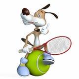Illustrazione su un oggetto un cane il tennis. Fotografia Stock Libera da Diritti