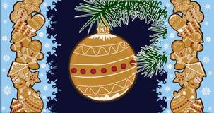 Illustrazione su un tema di Natale, su un manifesto festivo Immagini Stock Libere da Diritti