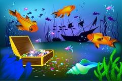 Illustrazione subacquea di vettore con la nave ed il petto affondati con le gemme con il pesce royalty illustrazione gratis