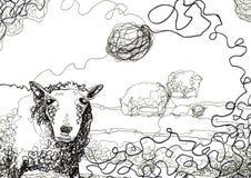illustrazione sudicia delle pecore e del filetto Fotografie Stock Libere da Diritti