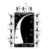 Illustrazione sui piccoli meccanici del fondo bianco illustrazione di stock