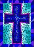 Illustrazione sui temi religiosi, finestra del vetro macchiato di vetro macchiato sotto forma di un incrocio cristiano blu, su un royalty illustrazione gratis