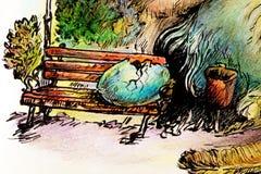 Illustrazione surrealista di un uovo dello sciamano di covata Immagine Stock Libera da Diritti