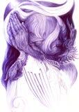 Illustrazione surrealista di un visionario blu pregante e di un uccello Fotografia Stock Libera da Diritti