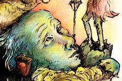 Illustrazione surrealista di una testa di covata dello sciamano Fotografia Stock