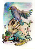 Illustrazione surrealista di uno sciamano di covata Immagini Stock